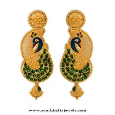 Indian Gold Jewelry Near Me Kids Gold Jewellery, Peacock Jewelry, Peacock Earrings, Gold Rings Jewelry, Gold Jewellery Design, Diamond Jewellery, Metal Jewellery, India Jewelry, Gold Chocker Necklace