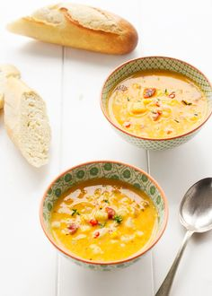 I'm not sure I can improve on this Corn and Chorizo Chowder. Rich, spicy and warming; Healthy Soup Recipes, Cooking Recipes, Healthy Food, How To Cook Chorizo, Cooking Chorizo, Longest Recipe, Midweek Meals, Soups And Stews, Food Videos