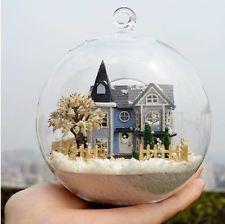 Glass Ball Handmade DIY Miniature Doll House Model Creative Blue Castle