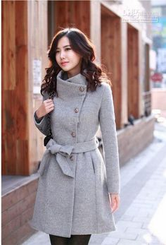 Lollipop Turn-down Collar Long Sleeve Drape Coat Women Winter Coats with Bow Belt Knee Length YN006, $51.93 | DHgat...