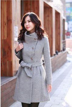 Wholesale Lollipop Turn-down Collar Long Sleeve Drape Coat Women Winter Coats with Bow Belt Knee Length YN006, Free shipping, $51.93/Piece | DHgate
