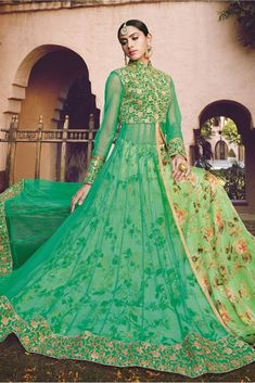 Enchant the mantra of being stylish in this attire. An outstanding sea green satin a line lehenga choli will make you look very stylish and graceful. The patch border and print work looks chic and per. Bollywood Lehenga, Net Lehenga, Lehenga Choli Online, Bridal Lehenga Choli, Lehenga Suit, Lehenga Style, Anarkali Dress, Lehenga Collection, Looks Chic