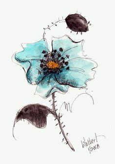 Poppy Flower Blue Aqua Original Watercolor Art Painting Pen