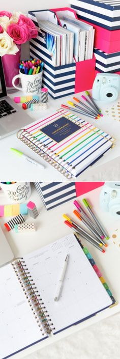 Colorful desk supplies + the Simplified Planner by Emily Ley