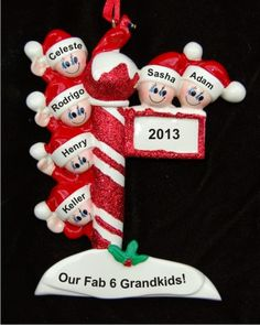 North Pole Post for 6 Grandchildren Personalized Christmas Ornament