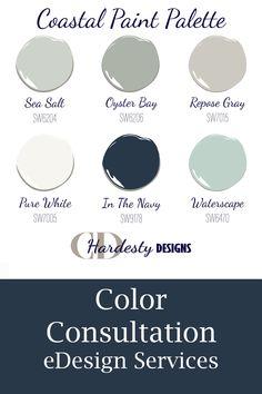 Coastal Color Palettes, House Color Palettes, Paint Color Palettes, Paint Color Schemes, Beach House Colors, Farm House Colors, House Color Schemes Interior, Coordinating Paint Colors, Coastal Paint