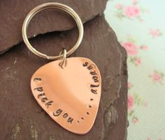 Valentines Day for Him, Guitar Pick Key Chain, Gift Idea, Hand Stamped Copper Keyring, For Men, Birthday Present for Boyfriend / Husband on Etsy, $23.63