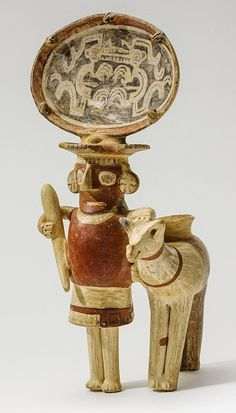 Figure with 'Moon Animal' Headdress and Llama, Peru, North-Central Highlands, Recuay, Recuay, AD 1-700.