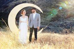 crescent moon backdrop by dappsy | via Starry Night Weddings http://emmalinebride.com/vintage/starry-night-weddings-ideas/