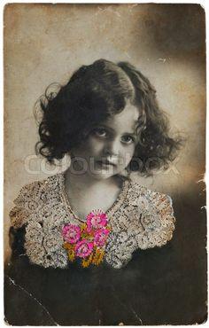 Gamle postkort portræt af en pige Broderi silke 1900-1910 år ...