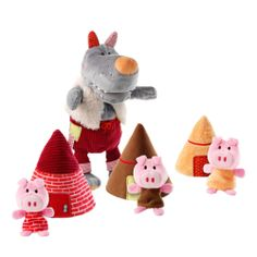 Marionnette le Loup et les 3 petits cochons - Lilliputiens - Wolf handpuppet & 3 little pigs!  #toy #kids #fun #pigs #bigbadwolf #play #Lilliputiens