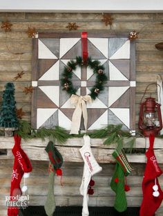 Create a rustic farmhouse barn wood wall quilt using vinyl flooring with this easy DIY tutorial. It& an easy faux decoration with much impact! Christmas Mantels, Rustic Christmas, Simple Christmas, Christmas Home, Christmas Decorations, Holiday Decor, Christmas Ideas, Seasonal Decor, Merry Christmas