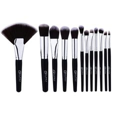 12pcs/set Premiuim Makeup Brushes Set Fondation Eyeshadow Cosmetic Brush Tool Black Handle Professional Make up Brush Kit #Affiliate