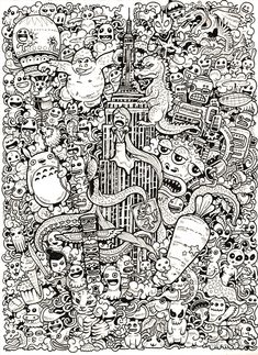 Amazing World Doodle Art Illustrations Of Kerby Rosanes: This is really cool! Doodle Art Amazing Art Cool Doodle Illustrations Kerby Rosanes world Doodle Art Letters, Doodle Art Journals, Doodle Books, Doodle Art Designs, Cool Doodles, Simple Doodles, Doodle Coloring, Doodle Inspiration, Book Images