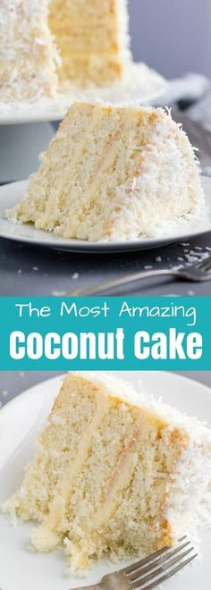 This Coconut Cake Recipe is made from scratch and full of bold coconut flavor and topped off with a coconut cream cheese frosting. This is the kind of cake that will wow everyone in the room! #coconutcake