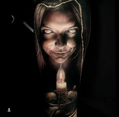 Image may contain: 1 person God Tattoos, Creepy Tattoos, Horror Tattoos, Arte Horror, Horror Art, Face Tattoos For Women, Demon Tattoo, Tattoo Project, Realism Tattoo