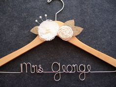BURLAP AND LACE Bridal Hanger, Rustic Natural Finish Wedding Dress Hanger with Lace and Muslin Flowers, Burlap Leaves and Pearls via Etsy