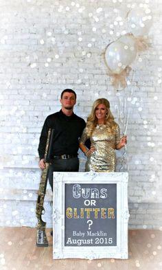 Baby Announcement Guns or Glitter #pregnancyannouncementideas,