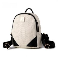 Nice New Fashion Color-Block Crocodile Pattern PU Leather Backpack 5 Colors