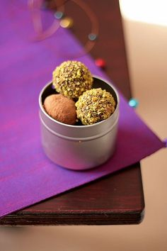 Lavender truffles dusted with cocoa powder and espresso truffles rolled in pistachios ( 2 separate #recipes)