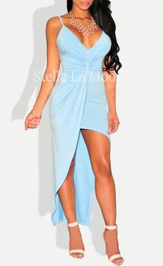 6e9533959a8 Sky Blue Knotted Front High-Low Dress  24.99 Sexy Summer Dresses