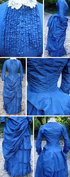 Blue silk faille dress with lace collar, no date. Atelier 1900