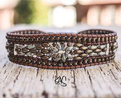 Leather with greenish gray and bronze beads single wrap cuff bracelet - southwestern Bracelet Making, Jewelry Making, Beaded Bracelets, Wrap Bracelets, Crochet Bracelet, Pandora Bracelets, Leather Jewelry, Leather Bracelets, Leather Cord