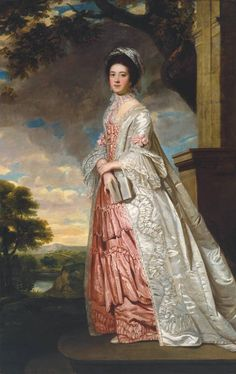Mrs Cadoux (c.1770). British School (18th century). Oil paint on canvas. Tate. Mrs Cadoux stands on a gallery with a landscape with river beyond her. Her clothing shows that she is from the upper class. Her open book indicates that she has intelligence and leisure time.