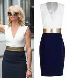 cameron diaz other woman movie carly white navy blue gold color block dress OTHER WOMAN MOVIE FASHION PT 2: CAMERON DIAZS WARDROBE