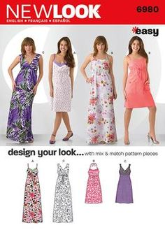 Womens Easy Design Your Look dress Pattern 6980 New Look Patterns