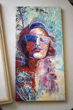 """Original Acrylic Painting on panel of a woman's face, x """"Radiating"""" Watercolor Paintings, Original Paintings, Abstract Wall Art, Beautiful Artwork, Woman Face, Three Dimensional, Abstract Expressionism, Great Artists, Art Forms"""