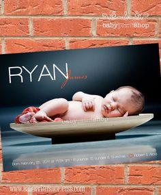 @Jackie Sellers Modern Custom Baby Birth Announcement Boy or Girl, Printable by Babyprintshop. $15.00, via Etsy.