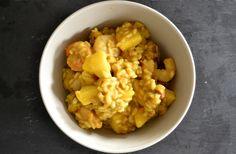 Risotto aux crevettes, pommes, noisettes et lait de coco