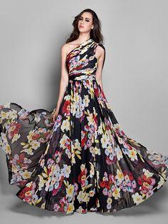 vaina / columna de un hombro vestido de noche de gasa palabra de longitud (927.300) - USD $129.99