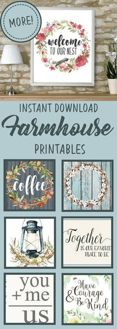 Printable wall art | farmhouse rustic style | inspirational quotes | you +me=us, have courage and be kind, home is our favorite place to be, welcome to our nest | easy home decor | primitive wall art | diy fixer upper style decor | instant download printables | etsy | #affiliate