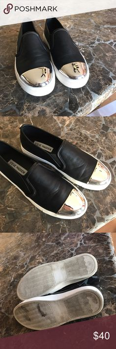 True Madden slip on shoes super cool In great condition tops and inside are very clean bottom has a little dirt! Only worn once size 5.5 Steve Madden Shoes Sneakers