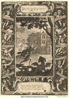 Un religioso que quería abandonar el monasterio es persuadido por un dragón que lo persigue. Sébastien Lecrecq (1637-1714).