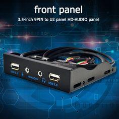 3.5 inch 9PIN to U2 HD-AUDIO panel USB 2.0 Port HUB Splitter audio floppy drive front panel 3.5mm Earphone Jack for Computer PC U2, Pc Computer, Audio, Type