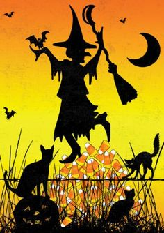 witch.quenalbertini: Witch with black cats and bats | eBay