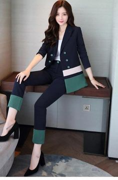New 2019 spring office lady style fashion green and blue contrast color slim fit double breasted suit women tailleur femme - Real Time - Diet, Exercise, Fitness, Finance You for Healthy articles ideas Office Fashion Women, Work Fashion, Womens Fashion, Style Fashion, Cheap Fashion, Fashion Jewelry, Suit Fashion, Fashion Outfits, Fashion Trends