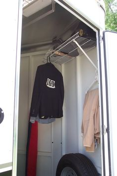 Can we talk about organizing your trailer tack room? Horse Trailer Organization, Tack Room Organization, Trailer Storage, Trailer Diy, Trailer Remodel, Horse Show Mom, Show Horses, Horse Camp, Horse Gear