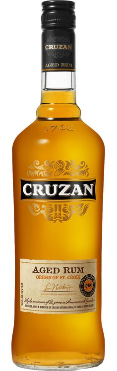 Cruzan Rum has been made in St. Croix in the US Virgin Islands for seven generations. It's a blend of rums, all of them aged for two to four years in an oak barrel. To give you a comparison, Bacardi is aged for one year in steel barrels, which is why it has no color. It's very inexpensive yet is a very good tasting rum. The aged quality of the rum actually gives cocktails an interesting complexity.  Nothing fancy here.