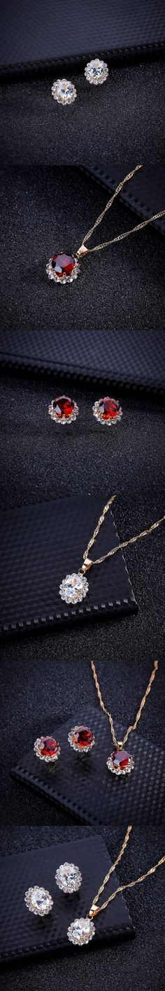 New Bridal Jewelry Sets Red White Crystal Flowers Necklaces & Earrings Women Wedding Jewelery Set Inlay CZ Zircon Earstud Gifts
