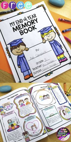 End of Year Memory Book.    FREE End of Year Memory Book with 3 Student Writing Templates and a Free-Writing Page! Your students will love this end of year activity!