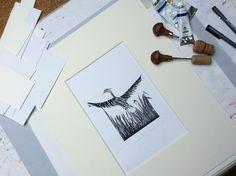 Original Linoprint # luxembird by Mea Bateman.