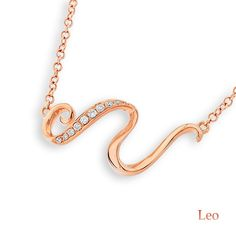 "18K Rose Gold Astrology Horoscope Zodiac Sign Leo Diamond Necklace (0.05ct, G-H Color, SI1-SI2 Clarity, 16+1.5"")"