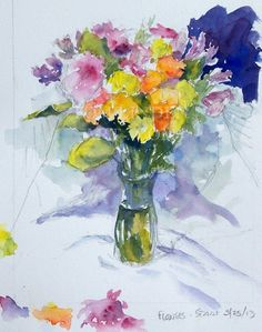 Watercolor Paintings of Flowers- Flower Bouquet