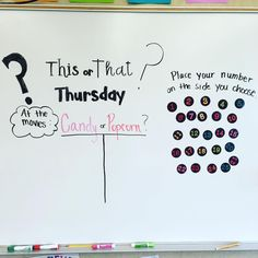 Board for tomorrow! Polls are a great way to get going on opinion writing or graphing! My board is magnetic, so the numbers move nice and easy! 😅 iteachfifth thisorthat teach is part of Whiteboard questions - Classroom Organization, Classroom Management, Classroom Ideas, Classroom Board, Classroom Inspiration, Organization Ideas, Daily Writing Prompts, Writing Rubrics, Paragraph Writing
