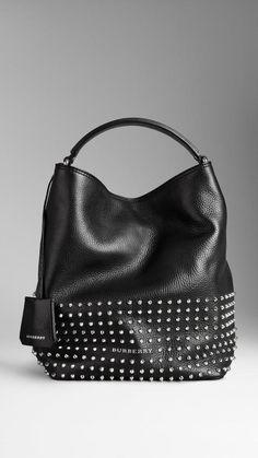 8b63f77b3a Burberry Medium Studded Leather Hobo Bag on shopstyle.com Burberry Scarf,  Burberry Handbags,