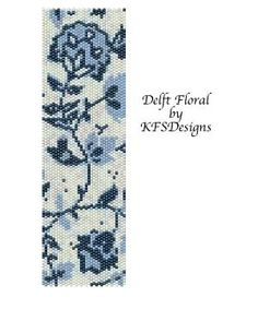 Peyote Stitch Cuff Bracelet Pattern - Delft Floral (Buy 2 Patterns - get 3rd. pattern FREE) by Shopway2much